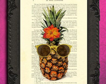 pineapple print tropical fruit print summer print funny happy pineapple with sunglasses print