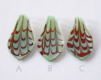 1 Lampwork Glass Pendant Silver Foil Patterned Green Red Size 60x30mm