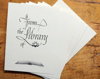 Three Owls and Open Book Bookplate