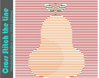 Sweet contemporary cross stitch pattern. Minimalist design. Modern embroidery chart. 'Cute pear'