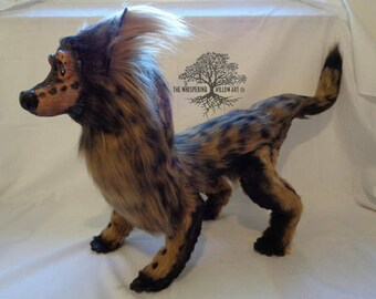 Ancient Tribal Hyena Dog Hybrid OOAK Plush Fantasy Art Doll FULLY POSEABLE | Artist Doll | Posable Fantasy Doll | Ooak Art Doll | Ooak Plush