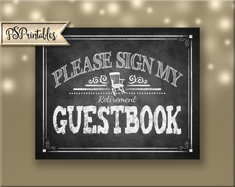 Printable Retirement sign, Please Sign My Guestbook Retiree Sign, Retirement Poster, Retirement party decor, Rockin Retirement Collection