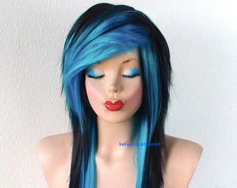Scene wig. Emo wig. Black Turquoise Long layered hairstyle wig. Scene girl wig. Durable heat friendly wig for everyday wear or Cosplay.