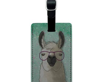 Hip llama with glasses rectangle leather luggage card suitcase carry-on id tag
