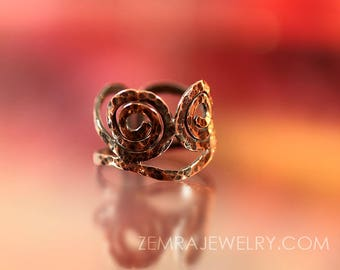 Spiral Hammered Copper Wire Ring Twin Spirals Thumb Ring Copper Jewelry Tribal Boho Rustic Adjustable Ring Sacred Geometry Size 10.5 - 12.5