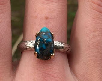 Oldstock Morenci Turquoise Ring with Pyrite Specks, Recycled Gold and Sterling Silver Handcrafted Ring, Size 9