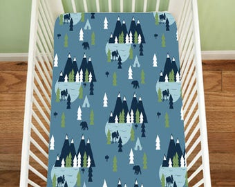 Gone Fishing, Navy Fitted Sheet, Fishing Bedding, Fitted Crib Sheet, Nautical, Changing Pad Cover