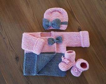 Pretty soft Hand knitted Newborn Girl Outfit set /Jacket, booties and Hat / Baby set/ Baby Shower/ baby clothes/ pastel rose/ Gift