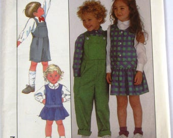 Childs Overalls in Two Lengths, Jumper and Shirt Size 5 Vintage 1980s Simplicity Pattern 8932 UNCUT