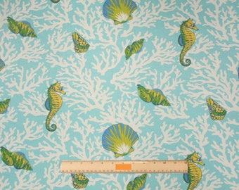 Two 20 x 20  Designer Decorative Pillow Covers for Indoor/Outdoor - Beach Sealife - Aqua Blue Green