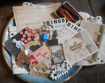 Vintage Junk Drawer Lot Destash Ephemera Scrabble Letters, Bingo Cards Numbers, Marriage License, Photos, Air Mail Stamps, Bead Necklaces