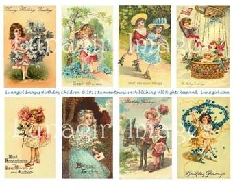 VINTAGE BIRTHDAY digital collage sheet, Victorian birthday cards, children playing girls boys flowers antique postcards shabby chic DOWNLOAD