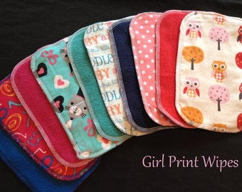 Cloth Baby Wipes, Family Cloth, Reusable Wipes, Assorted Girl Prints, Pack of 25 Cloth Wipes, Baby Girl Shower Gift