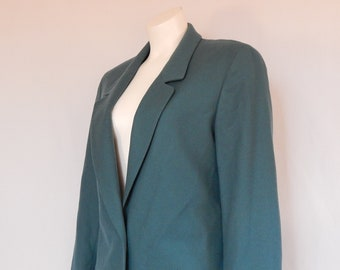 Vintage Teal Blue Wool Women's Miss Pendleton One Button Blazer Jacket Size 8 Medium M Made in USA 90s Nineties Preppy Classic