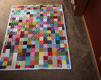 50% Deposit - Twin Quilt - Scrappy Patchwork Quilt - Twin Size Quilt - DEPOSIT ONLY