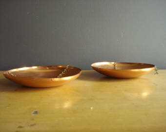 Bright Copper Dishes - Small, Shallow Copper Hanging Plates - Round Copper Disks - Set of Two
