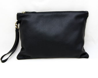 Black Leather Handbag-Leather Clutch Handbag-Leather pouch-Black Leather Handbags-Handbags-Evening Bags-Clutches-Sigal Levi