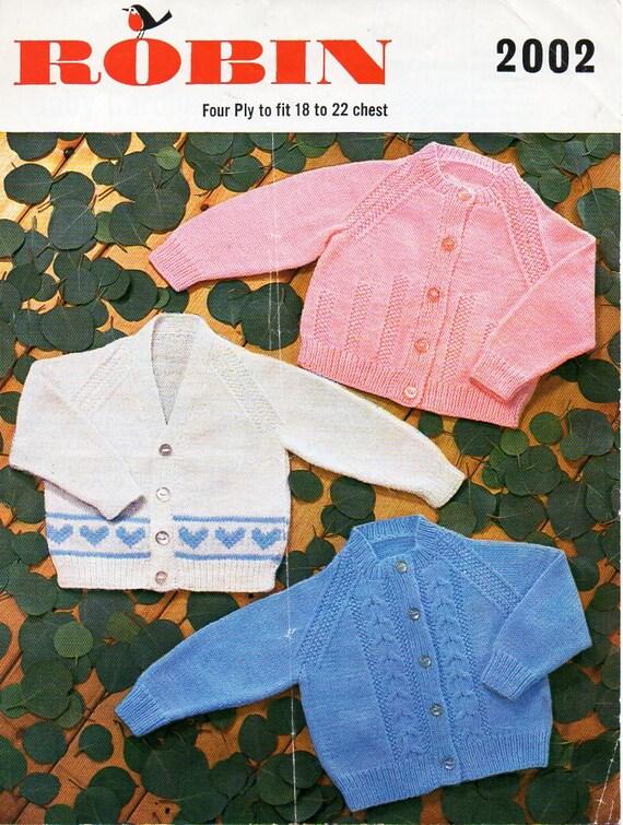 Baby Cardigans Knitting Pattern Pdf 4 Ply Baby Cardigans Heart Motif