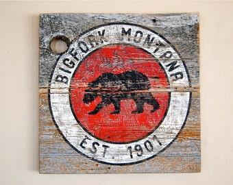 Montana Barnwood Sign, Rustic Art,  Bigfork Montana