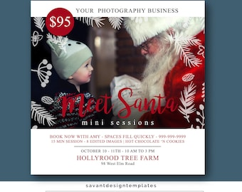 Mini Session Template, Meet Santa Photography Mini Sessions, Christmas, Tree Farm, Photoshop Templates,  MSTC10, INSTANT DOWNLOAD