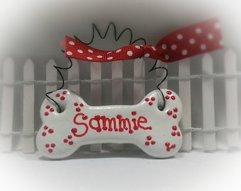 Personalized Dog Bone Ornament, Polk-a-Dot Ribbon, Christmas Pet Ornament, Dog Name Ornament, Dog Lover's Gift under 5.00