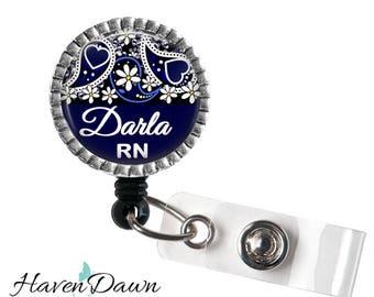 Paisley ID Badge Reel, ID Nurse Clip, Nurse Gift