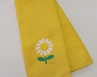Embroidered Daisy Kitchen Towel - Yellow or Light Blue