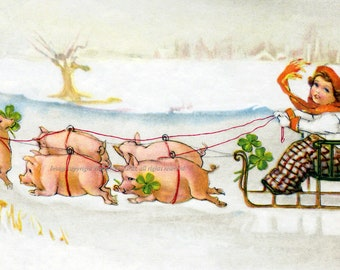 New Year Card - Pigs Pull Sled in Snow - German Holiday Card