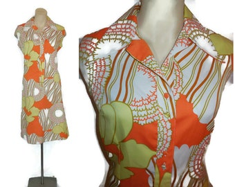 Vintage 1970s Lanvin Dress Mod Designer Shift Dress Shirtdress Bright Orange Yellow Floral Pop Art Print M L chest to 42 in