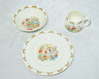 Royal Doulton Bunnykins Nursery Dish Set in Original Box