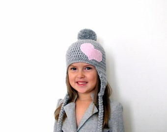 Girl Heart Hat, Crocheted Hat, Ear flap and pom pom hat, Valentines Day Hat, Winter Hat, Toddler Hat, Knit Hat, Kids Hat, Baby Beanie