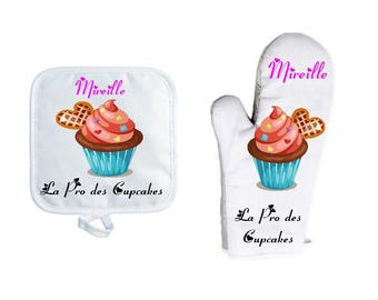 Oven glove with personalized Potholder, name choice, cake, Cupcake, macaroon