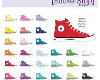Athletic Shoe Rainbow Clipart 28 colors, PNG Digital Clipart - Instant download - basketball shoe, fitness, sports, running shoe
