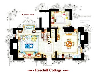 Two floorplans of Rosehill Cottage from the movie THE HOLIDAY