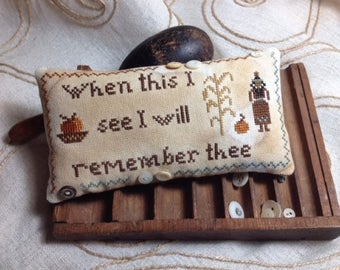 Primitive Cross Stitch Sampler PDF Pattern First Thanksgiving Remembrance