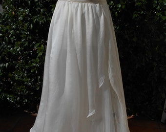 Wedding  Boho dress in ivory  silk crepè and tulle
