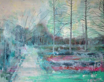 Landscape Art-- Winter Abstraction-- Impressionist Painting of Winter Garden