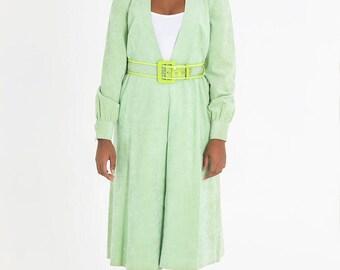 VINTAGE 70s Mollie Parnis Ultra Suede Pastel Green Coat Dress Sz XS-M