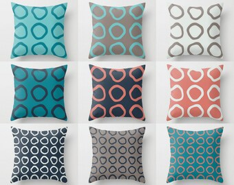 Throw Pillow Covers, Teal Pillow Covers, Navy Pillow Covers, Coral Pillows, Home Decor, Cushion Cover, Decorative Pillows