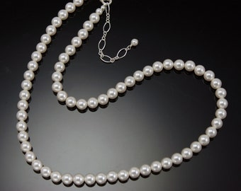 Pearl Necklace, Wedding Jewelry, Bridal Necklace, 6mm Pearl Necklace, WHITE or IVORY pearls, Bridesmaids Necklace, Pearl Jewelry