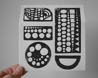 "Set of 3 Gray Linocut ""Stencil"" Envelopes"