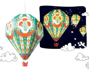 Small DIY Paper Hot Air Balloon Lamp Shade RED | Physical Pre-cut DIY Kit | Vintage Magical Cute Kids Room Nursery Home Decor Hanging Light