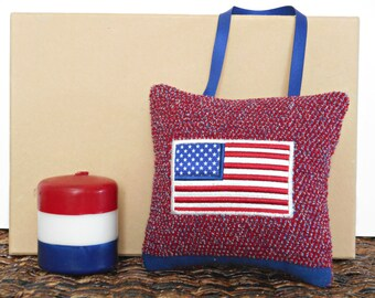 American Flag Door Hanger Pillow Fourth of July Patriotic Americana Red White Blue Stars and Stripes Repurposed