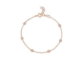 14KT White Gold Diamond Mini Squares Bracelet