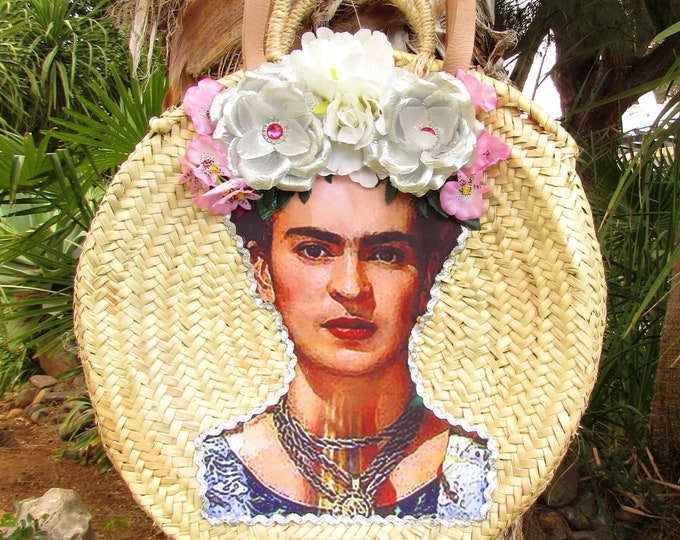 Round straw bag with shoulder straps  Handwoven straw round basket  French market basket  Frida Kahlo straw bag  Beach basket  Straw basket