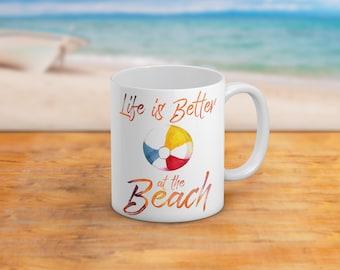 Life Is Better At The Beach 11 Oz And 15 Oz Coffee Mug NauticalBeach Themed Home Decor