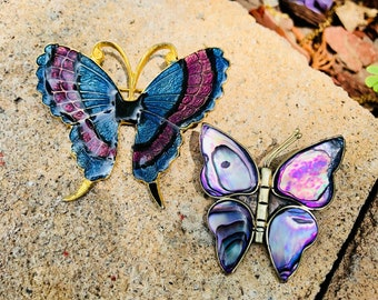 Pair of Blue and Purple Butterfly Brooches Don-Lin and Abalone