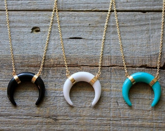 Double Horn Necklace, Boho Horn Necklace, Gold Bone Layering Necklace, Turquoise Necklace, Gift for Her, Girlfriend Gift, Bohemian Necklace