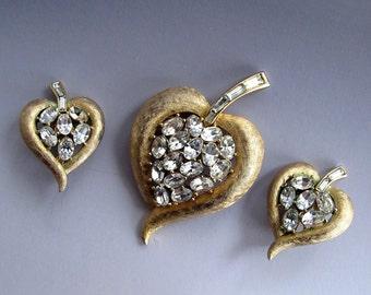 Vintage Crown Trifari Brushed Goldtone and Rhinestone Leaf Brooch and Earring Set