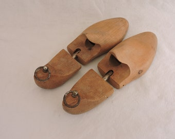 Vintage Shoe Trees - Pair of French Shoe Stretchers - Shoe Keepers - Wooden Hinged Shoe Forms